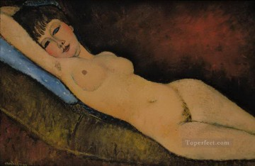 reclining nude Nu Couche au coussin Bleu Amedeo Modigliani Oil Paintings